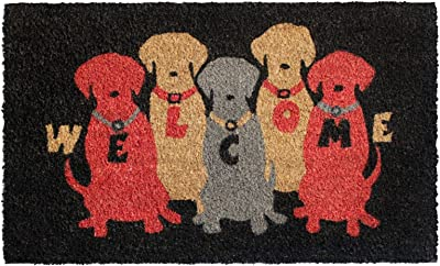 """Rugsmith Red Welcome Colourful Dogs Machine Tufted Doormat, 18"""" x 30"""", Black"""