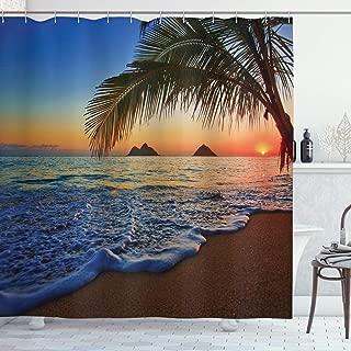 Ambesonne Hawaiian Shower Curtain, Pacific Sunrise at Lanikai Beach Hawaii Colorful Sky Wavy Ocean Surface Scene, Cloth Fabric Bathroom Decor Set with Hooks, 70