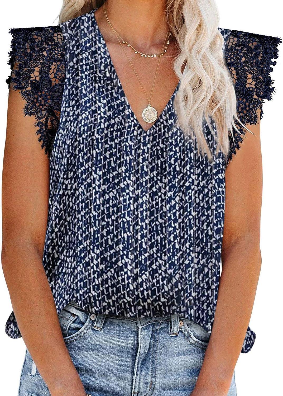 Aleumdr Women's V Neck Sleeveless Crochet Lace Blouse Casual Loose Sleeveless Shirts