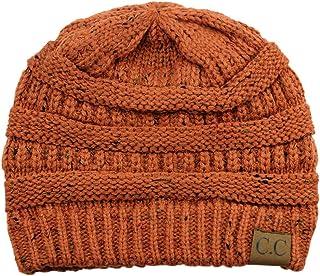 C.C Unisex Colorful Confetti Soft Stretch Cable Knit Beanie Skull Cap - Rust