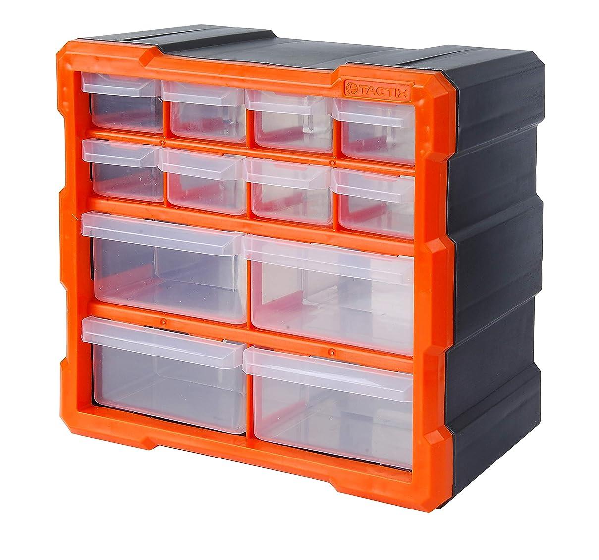Tactix 320630 12 Drawer Cabinet, Storage & Hardware Parts Organizer, Black/Orange