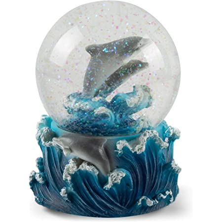 Ocean Home D/écors 2.5 Sea Animals Glass Statue Art Handcrafted Glitter Dome Tabletop Sculpture Desk Centerpiece Accent 45mm CoTa Global Resin Stone Cool Summer Dolphin Coastal Snow Globe