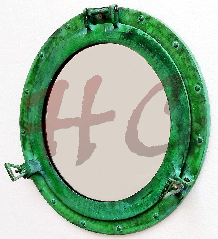 17  Aluminium Porthole Mirror Green Finish, Maritime Nautical Ship Decor