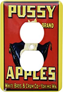 3dRose lsp_185311_6 Print of Vintage Pussy Apples With White Kitten - 2 Plug Outlet Cover