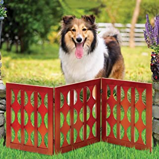 Safety Pet Gate for Dogs – Free-Standing & Foldable - Decorative Classic Wooden Fence Barrier – Stairs & Doorways
