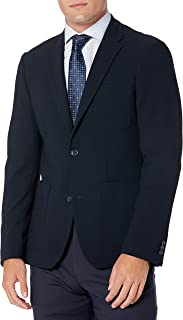 Perry Ellis Men's Slim Fit Textured Stretch Jacket, Dark Sapphire, Medium/40 Short