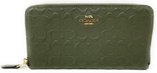 COACH Womens Accordion Zip Wallet in Signature Leather F67566 (Military Green)