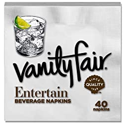 Vanity Fair Entertain Beverage Napkin, 40 Count, White Cocktail Paper Napkin