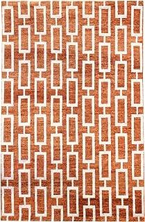 Landry & Arcari Elysia Collection J40377 Hand-Woven Terracotta & Silver Modern Geometric Pattern Wool Area Rug 4 feet by 6 Feet (4x6)