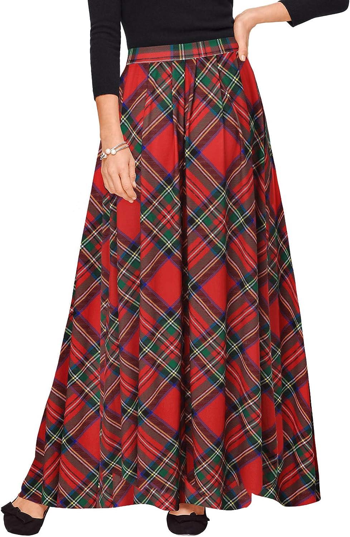 Zattcas Womens Buffalo Plaid High Elastic Waist Pleated Maxi Skirt with Pockets