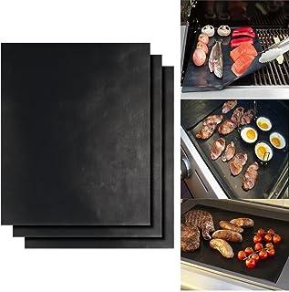 Dobet -Lot de 3 tapis de cuisson réutilisables pour grille/barbecue - Tissu en fibre de verre - 41 x 33cm – Pour barbecue...