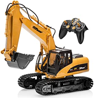 Top Race 15 Channel Full Functional Remote Control Excavator Construction Tractor, Excavator Toy with 2.4Ghz Transmitter and Metal Shovel – TR 211