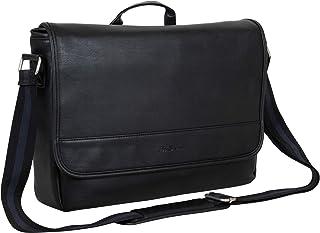 "Ben Sherman 130255 Faux Leather Flapover 15"" Laptop & Tablet Casual Messenger Bag, Black, Laptop"
