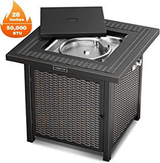 OT QOMOTOP Outdoor Propane Fire Pit Table, 28 Inch 50,000 BTU Gas Fire Table with Auto-Ignition and CSA Certification Approval, Suitable for Using on The Stone/Marble/Wooden Floor and Grassland