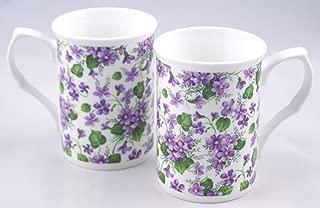 Fine English Bone China Mugs - Wild Violet Chintz - Set of Two