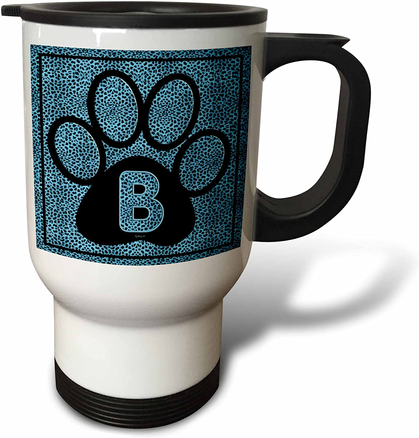 3dRose Letter B Popular popular Blue Cheetah Print 14-Ounce Travel Inventory cleanup selling sale Paw Cat Mug