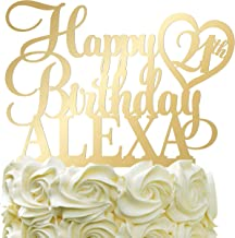 Happy Birthday Customize Birthday Cake Topper Personalized Name Age Cake Topper With Heart Cake Decoration For Party Mirrored Acrylic