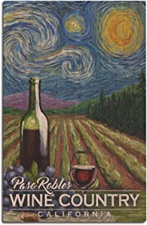 Lantern Press Paso Robles Wine Country, California - Vineyard - Starry Night 102942 (12x18 Wood Wall Sign, Wall Decor Ready to Hang)