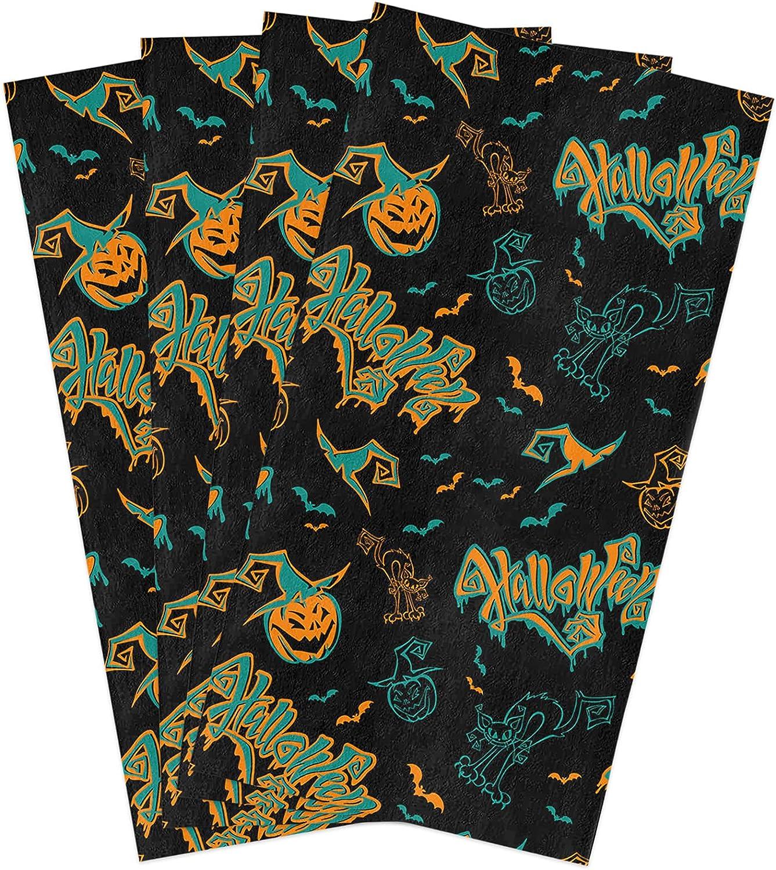 Halloween Kitchen Towels Set Funny Dish Max 84% OFF Pumpkin Towe Grimace Cat 55% OFF