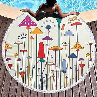 バスタオル 1960s Style Poster 丸いビーチタオル ラウンドビーチタオル 厚手 大判 スーパーソフト 100%マイクロファイバー テリー生地 Round beach towel 59 in 円形大マイクロファイバーテリービーチ丸い