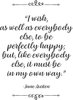 Jane Austen, I Wish, Quote Wall Art Poster Prints, Set of 1 (8x10) Great Literary Typography Gifts Under 10 For Home, Office, Studio, Library, Teacher, Student, Librarian, Book Lovers & Readers Fan