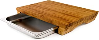 cleenbo Cutting Boards Style Bamboo with Tray, Large Wood Oiled Bamboo Chopping Board with Stainless Steel Drawer for Kitchen, Eco-Friendly and with compartments Dimensions: 16.9 x 11.4 x 2.7 in