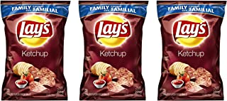 Lays Potato Chips, Ketchup, Large Family size 3-Pack {Imported from Canada}