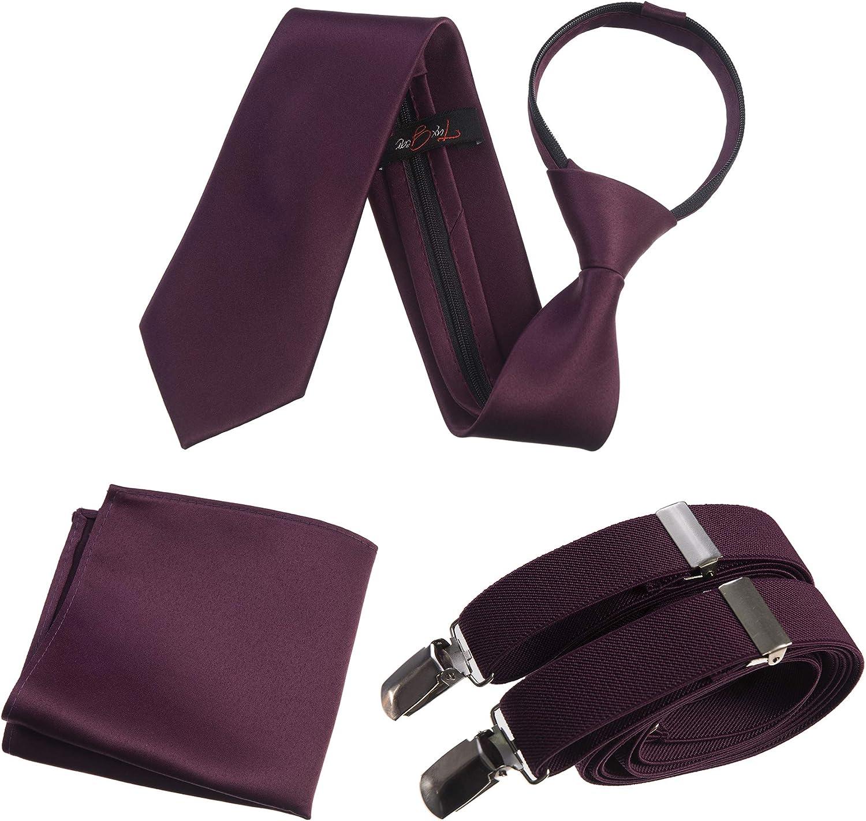 Tuxgear Mens Neck Tie, Stretch Suspender and Pocket Square Set Assorted Colors