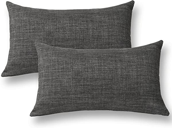 Jeanerlor Home Decoration Faux Linen With Bamboo Texture Euro Throw Pillow Sham Cushion Cover For Sofa Couch Dark Grey 12 X20 Set Of 2