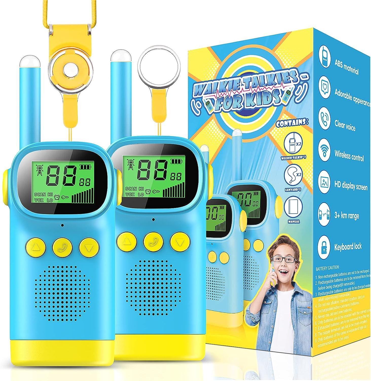 wetepuxi 2X Kids Walkie Talkies Radio Set 3km Range 8 Canales con Gran Pantalla LCD/Reloj Despertador Walki Talki Niño