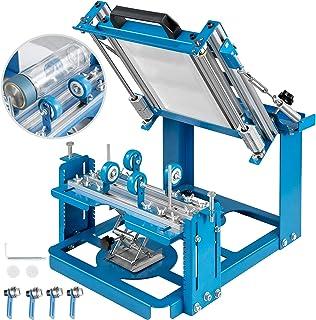 VEVOR Máquina de Serigrafía Cilindro Manual Máquina de Serigrafía 200 * 100 mm, Máquina de Serigrafía de Seda Azul