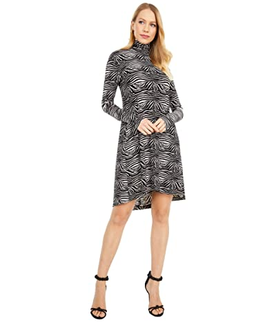 KAMALIKULTURE by Norma Kamali Long Sleeve Turtle Swing Dress (Small Zebra) Women