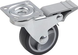 Metafranc Zwenkwiel Ø 50 mm - Vastzetter - 42 x 42 mm plaat - TPR-wiel - Zacht loopvlak - glijlager - 40 kg draagkracht/tr...