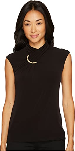 Calvin Klein - Sleeveless High Neck Blouse with Hardware