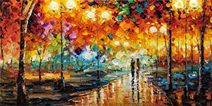 Modern Original Artwork Prints Painting On Canvas Lover Couple Walking In The Rain Night Landscape Wall Art Decorations for Living Room (20x40 inch)