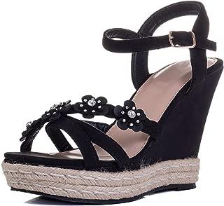 SEDULOUS Women's Diamante Flower Wedge Heel Platform Sandals Pumps Shoes