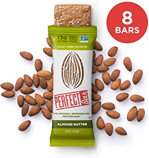 Perfect Bar Original Refrigerated Protein Bar, Almond Butter, 13g Whole Food Protein, Gluten Free & Non-GMO, 2.5 Oz. Bars (8 Bars)