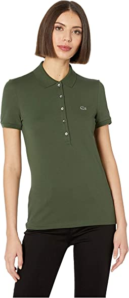 Classic Short Sleeve Slim Fit Stretch Pique Polo
