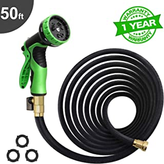 50Ft Expandable Garden Hose, Extra Strength 3750D Fabric, Triple Latex Core, 3/4