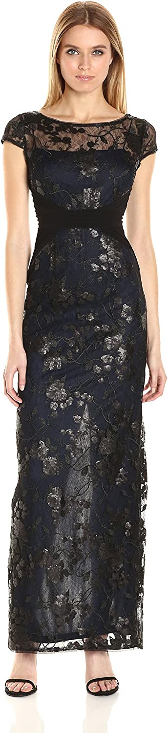 Adrianna Papell Womens Embroidered Mesh and Jersey Gown Dress