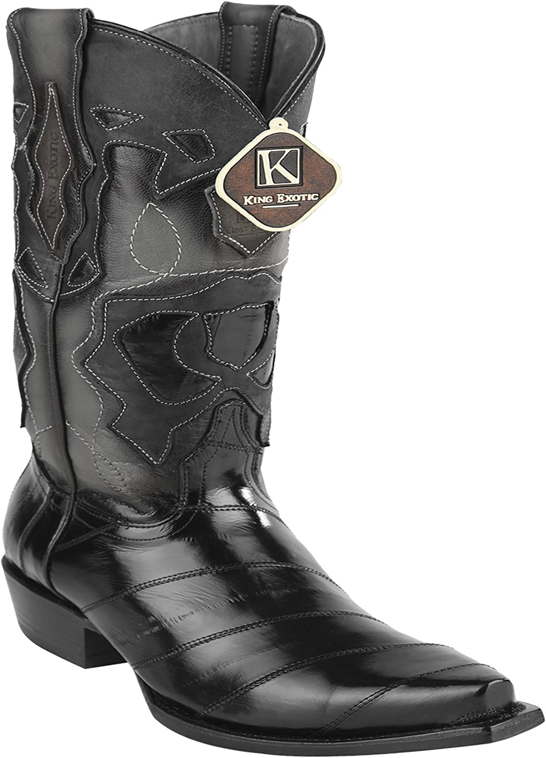 Women's Snip Toe Black Genuine Leather EEL Skin Western Boots