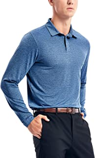 Men's Dry Fit Long Sleeve Golf Polo Shirts,Athletic Performance Polo Shirts UPF 30+