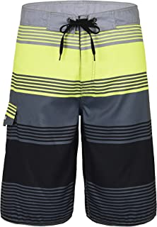 67f8fb7a22 Nonwe Men's Quick Dry Swim Trunks Colorful Stripe Beach Shorts with Mesh  Lining