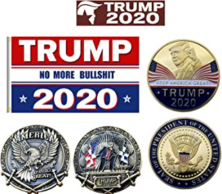 Freedom Dealz Trump 2020 Bundle - 3x5 Flag, 2 Gold Plated Coins, 10 Stickers No More Bull Keep America Great Re Elect DonaldUSA