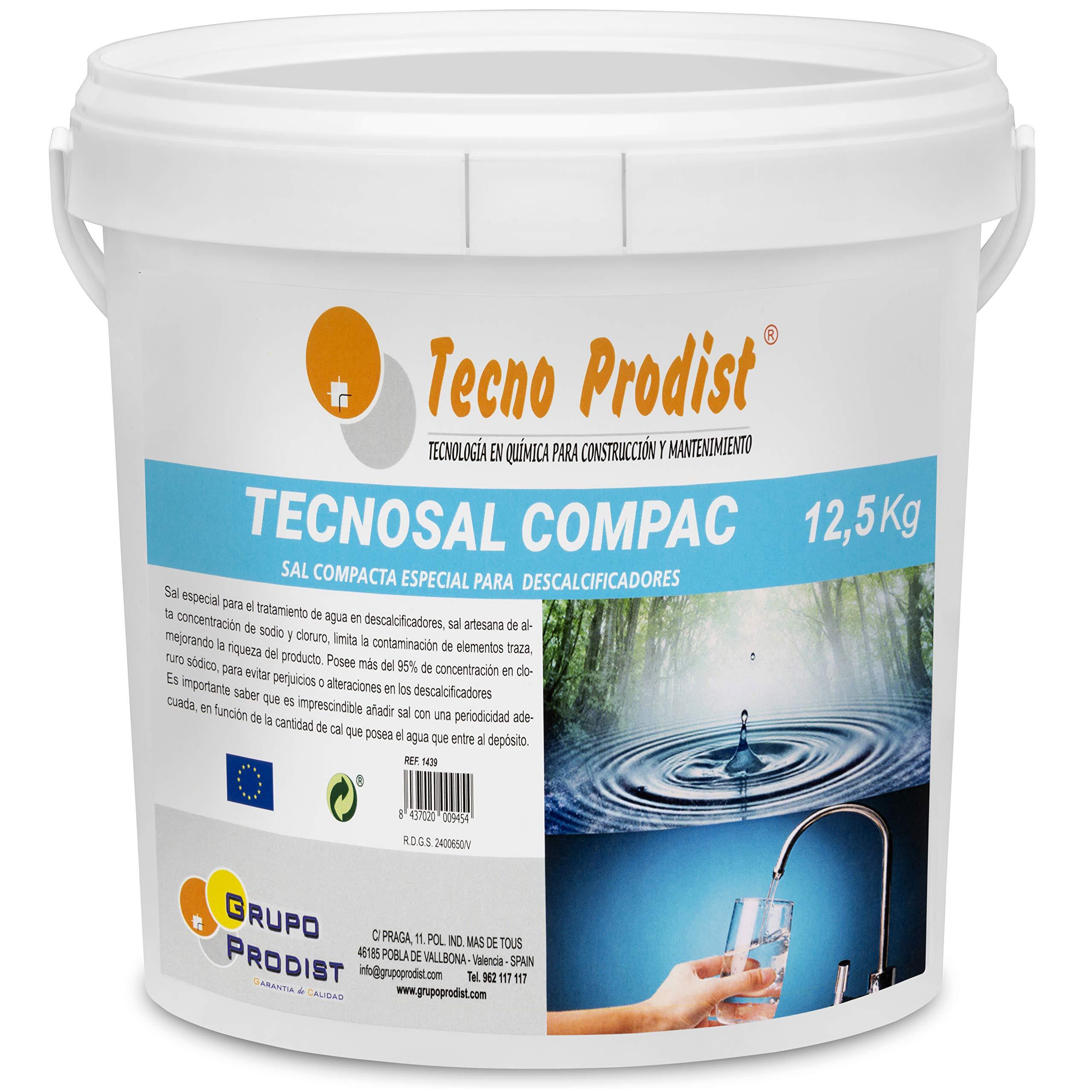 Tecno Prodist TECNOSAL - Sal compacta Especial para descalcificadores - En Cubo de 12,5 kg Fácil Aplicación: Amazon.es: Hogar