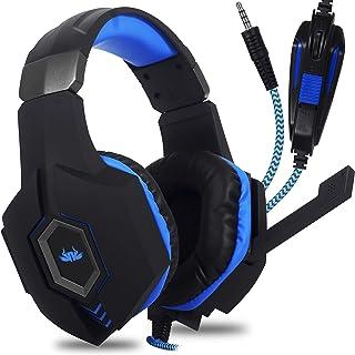 Headset Fone de Ouvido Gamer para Celular PS4 PS5 Xbox PC Gamer, P2 Único com Controle de Volume Microfone para Lives