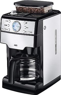 AEG KAM 400 Kaffeemaschine (Integriertes Mahlwerk, 9 Mahlgradeinstellungen, programmierbarer Timer, Kaffeepulver oder Kaffeebohnen, Aroma-Funktion, 1,25 l, Sicherheitsabschaltung, Edelstahl/schwarz)