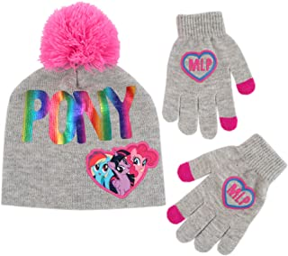 Neon Pink Sparkle 4-7 X-Small//Small Scarf and Gloves Set Spotted Zebra Little Girls 3-Piece Sweater Cold Weather Hat
