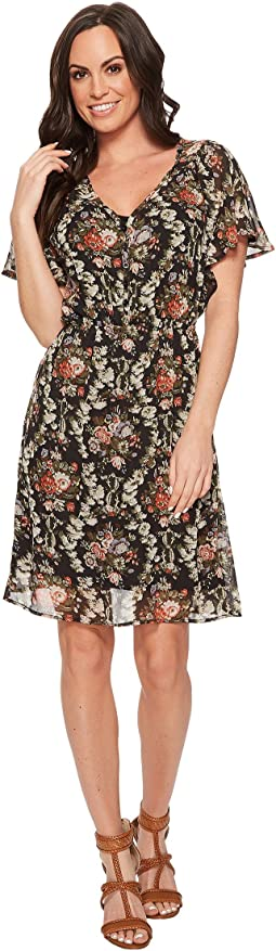 Stetson - 1398 Dark Floral Printed Chiffon Dress