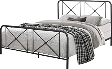Hillsdale Furniture Queen Metal Bed with Double X Design Platform, Black